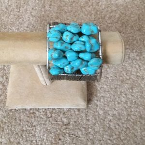 Siliver genuine turquoise wired bracelet